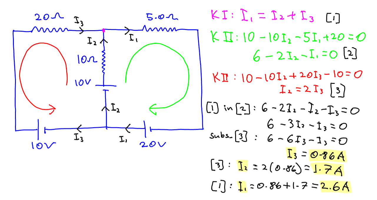 Finding Current in a Circuit using Kirchhoff's Laws - PMT