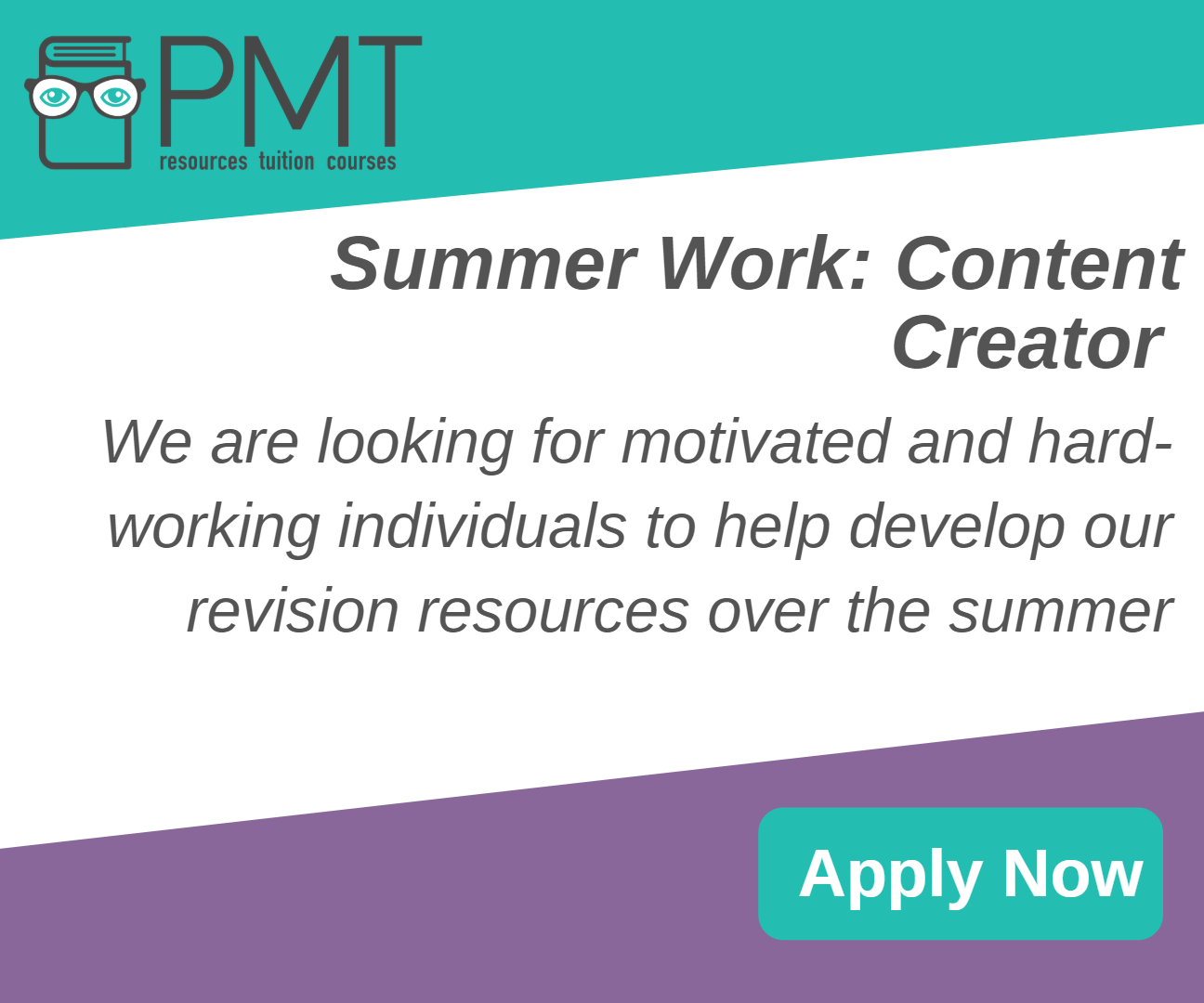 Summer Work at PMT Education